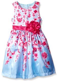 Nannette Girls' Toddler Sleeveless Flower Printed Shantung Dress