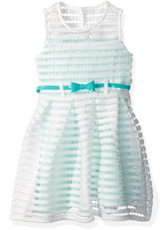 Nannette Little Girls' Sleeveless Open Mesh Dress with Contrast Lining Belt