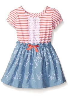Nannette Little Girls' Toddler Striped Knit Bodice W Embroidered Skirt Coral Blue