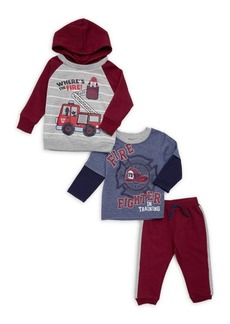 Nannette Little Girl's Three-Piece Fireman Hoodie, Top & Jogger Pants Set