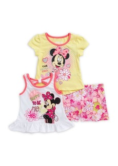 Disney Minnie Mouse Little Girl's Three-Piece Graphic Top and Floral Shorts Set