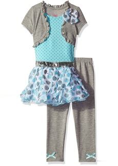Nannette Little Girls' Toddler 2 Piece Fashion Legging Set with a 2fer Look Top and Chiffon Ruffles