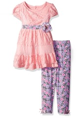 Nannette Little Girls' Toddler 2 Piece Fashion Legging Set with Lace and Jacquard Top