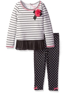Nannette Little Girls' Toddler 2 Piece Fashion Legging with Textured Knit and Printed Chiffon