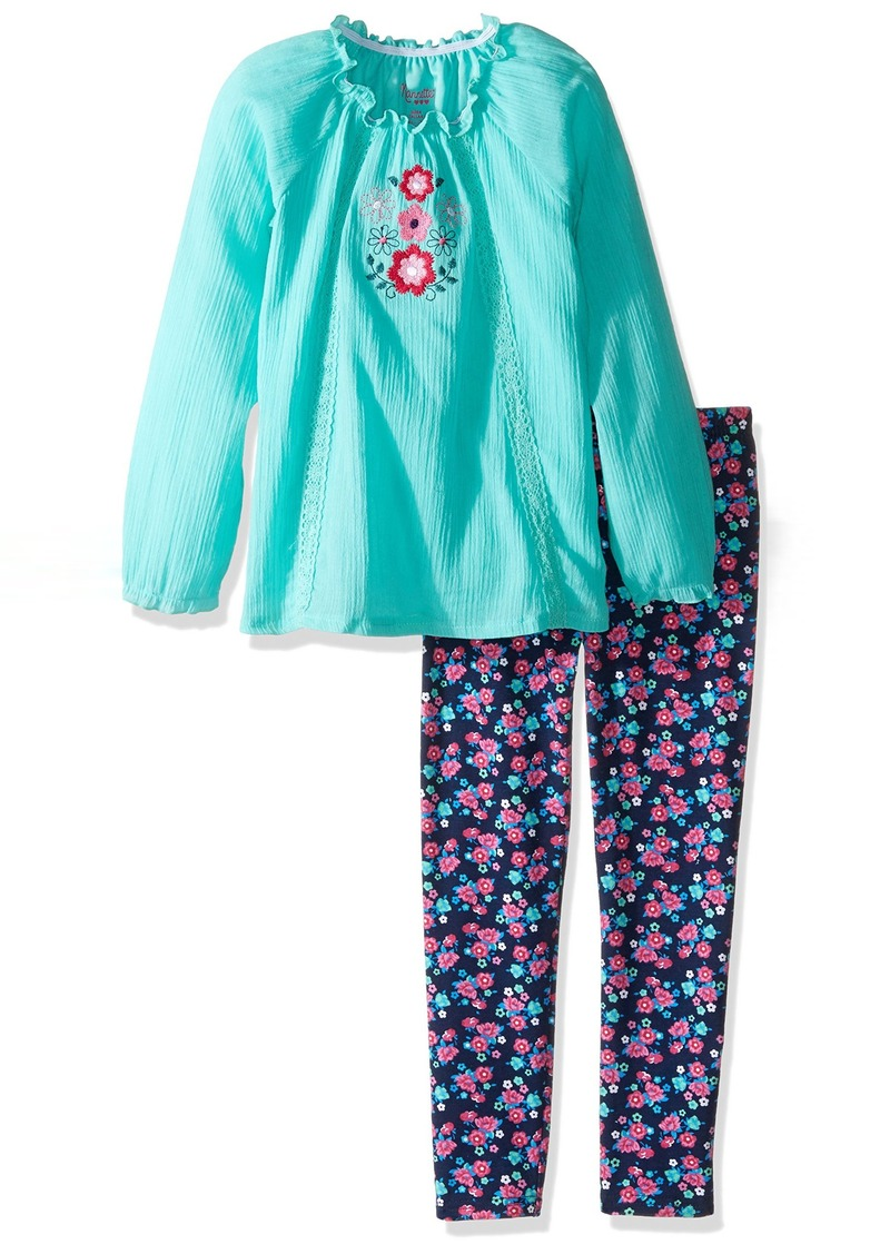 Nannette Little Girls' Toddler 2 Piece Gauze Legging Set with Flower Embroidery