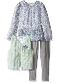 Nannette Little Girls' Toddler 3 Piece Curly Faux Fur Vest Set with Legging
