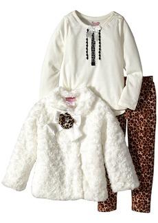 Nannette Little Girls' Toddler 3 Piece Faux Fur Jacket and Leopard Printed Legging Set