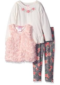 Nannette Little Girls' Toddler 3 Piece Soutache Vest Shirt and Legging Set