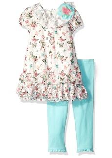 Nannette Little Girls' Toddler Butterfly Print Chiffon Bubble Dress Set with Legging