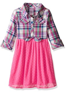 Nannette Little Girls' Toddler Clip Dot Dress with Ruffled Bodice with Bow