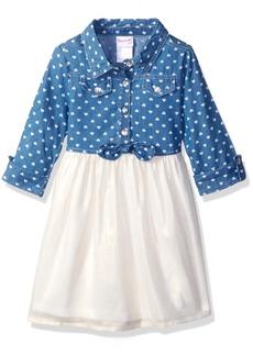 Nannette Little Girls' Toddler Clipdot Dress with Ruffled Bodice