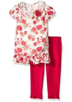 Nannette Little Girls' Toddler Floral Chiffon Bubble Dress Set with Legging