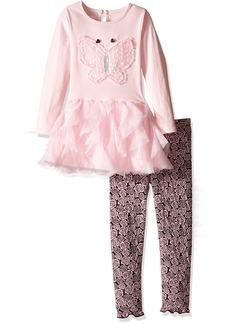 Nannette Little Girls' Toddler Long Sleeve Knit Top with Butterfly Applique Mesh Skirt