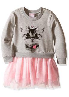 Nannette Little Girls' Toddler Long Sleeve Sweatshirt Dress and Tutu Skirt Grey