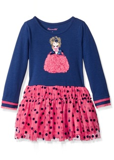 Nannette Little Girls' Toddler Long Sleeved Dress with Fouched Applique and Dot Tutu Skirt