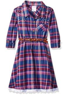 Nannette Little Girls' Toddler Plaid Shirt Dress with Rhinestones and Eyelet Trim Fashion Belt