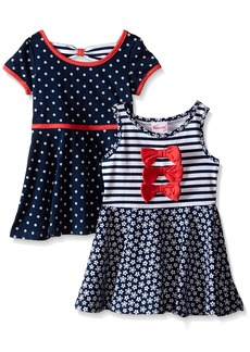 Nannette Little Girls' Toddler Two Pack Twin Printed Knit Dress