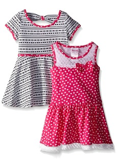 Nannette Little Girls Two Pack Twin Printed Knit Dress with Bow