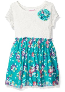 Nannette Little Girls' Two Pack Twin Printed Knit Dress with Bow