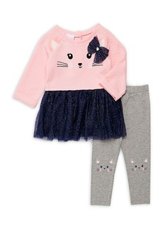 Nannette Little Girl's Two-Piece Cat Sweatshirt and Cat Leggings Set