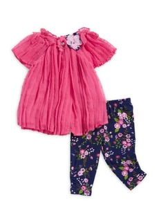 Nannette Little Girl's Two-Piece Floral Pleated Top and Leggings Set