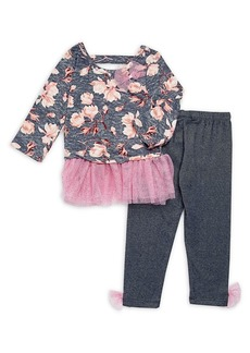 Nannette Little Girl's Two-Piece Floral Tulle Top & Pants Set