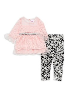 Nannette Little Girl's Two-Piece Lace Top & Animal-Dot Leggings Set