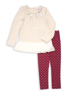 Nannette Little Girl's Two-Piece Peplum Top & Leggings Set