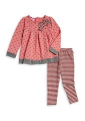 Nannette Little Girl's Two-Piece Polka Dot Top and Striped Leggings Set