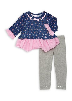 Nannette Little Girl's Two-Piece Ruffled Floral Top & Leggings Set