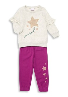 Nannette Little Girl's Two-Piece Ruffled Star Fleece Sweatshirt & Sweatpants Set