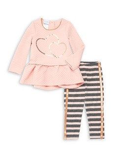 Nannette Little Girl's Two-Piece Sequined Top & Striped Leggings Set