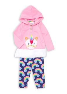 Nannette Little Girl's Two-Piece Faux Fur Unicorn & Rainbows Hoodie & Pants Set