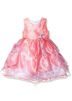 Nannette Little Girls' Two Tone Organza Dress with Tucked Bodice and Tiered Petals