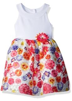 Nannette Girls' Little U-Neck Floral Organza Dress
