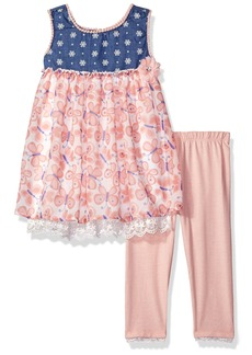 Nannette Girls' Toddler 2 Piece Chambray and Chiffon Top with Solid Legging