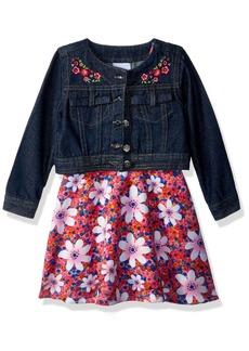Nannette Girls' Toddler 2 Piece Denim Jacket Dress Outfit Set