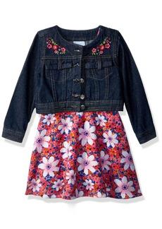 Nannette Toddler Girls' 2 Piece Denim Jacket Dress Outfit Set