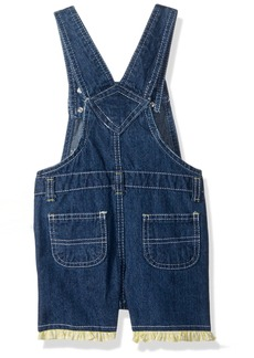 Nannette Toddler Girls' 2 Piece Denim Shortall with Floral Applique and Printed Top with Flutter Sleeves