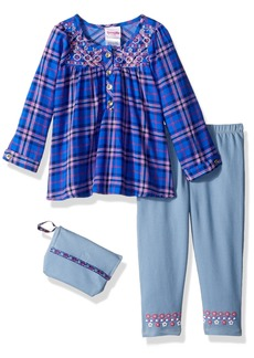 Nannette Toddler Girls' 2 Piece Embroidered Top and Jegging Set with Purse