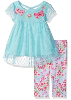 Nannette Girls' Toddler 2 Piece Empire Tunic and Legging Outfit Set