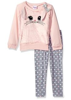 Nannette Girls' Toddler 2 Piece Faux Fur Animal Sweatshirt Legging Set
