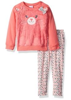 Nannette Toddler Girls' 2 Piece Faux Fur Animal Sweatshirt Legging Set