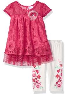 Nannette Toddler Girls' 2 Piece Floral Lace Capri Set