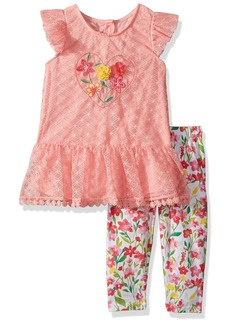 Nannette Toddler Girls' 2 Piece Peplum Tunic Legging Outfit Set