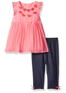 Nannette Girls' Toddler 2 Piece Pleated Chiffon Top and Printed Legging Set