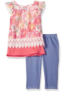 Nannette Toddler Girls' 2 Piece Printed Lace Top with Knit Denim Jegging Set