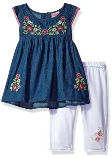 Nannette Toddler Girls' 2 Piece Set with Embroidered Chambray Top and Solid Legging
