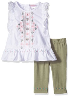 Nannette Girls' Toddler 2 Piece Set with Embroidered Top with Crotchet Trim and Solid Legging