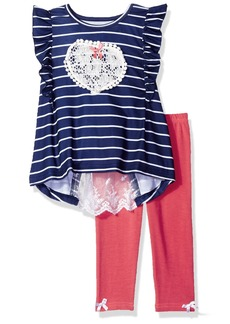 Nannette Toddler Girls' 2 Piece Set with Flutter Sleeve Lace Top and Solid Knit Denim Jegging